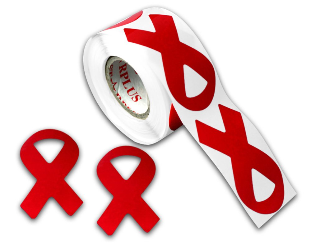 Amazon 250 Red Aids Hiv Ribbon Stickers 1 Roll Of 250 Stickers