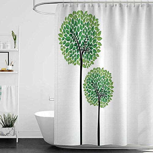 homecoco Shower Curtains Black White Abstract,Stylized Trees with Fresh Green Leaves Nature Eco Illustration,Fern Green Lime Green Black W48 x L72,Shower Curtain for Men (Black Green Lime Curtains And)