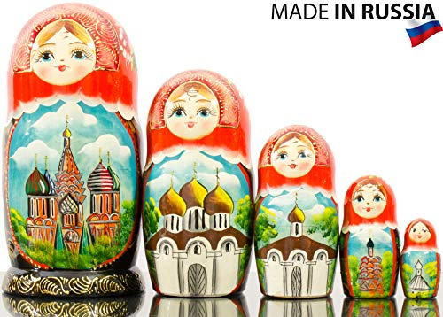 Russian Nesting Doll - Hand Painted in Russia - Moscow Memories- Traditional Matryoshka Babushka (Style B) by craftsfromrussia (Image #3)