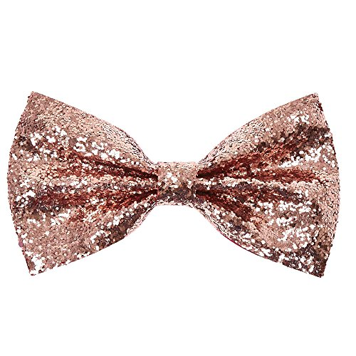 Claire's Girl's Rose Gold Glitter Bow Hair - Rose Bow Gold