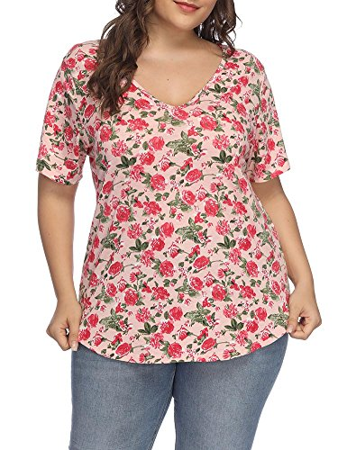 Allegrace Women Plus Size Sexy V Neck Floral T Shirt Short Sleeve Printed Tee Top Pink-A 2X