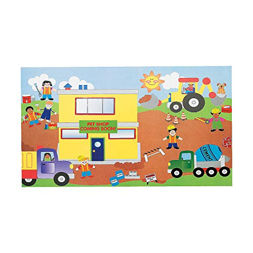 Fun Express - Giant Construction Site Sticker Scene - Stationery - Stickers - Make - A - Scene (Lrg) - 12 Pieces