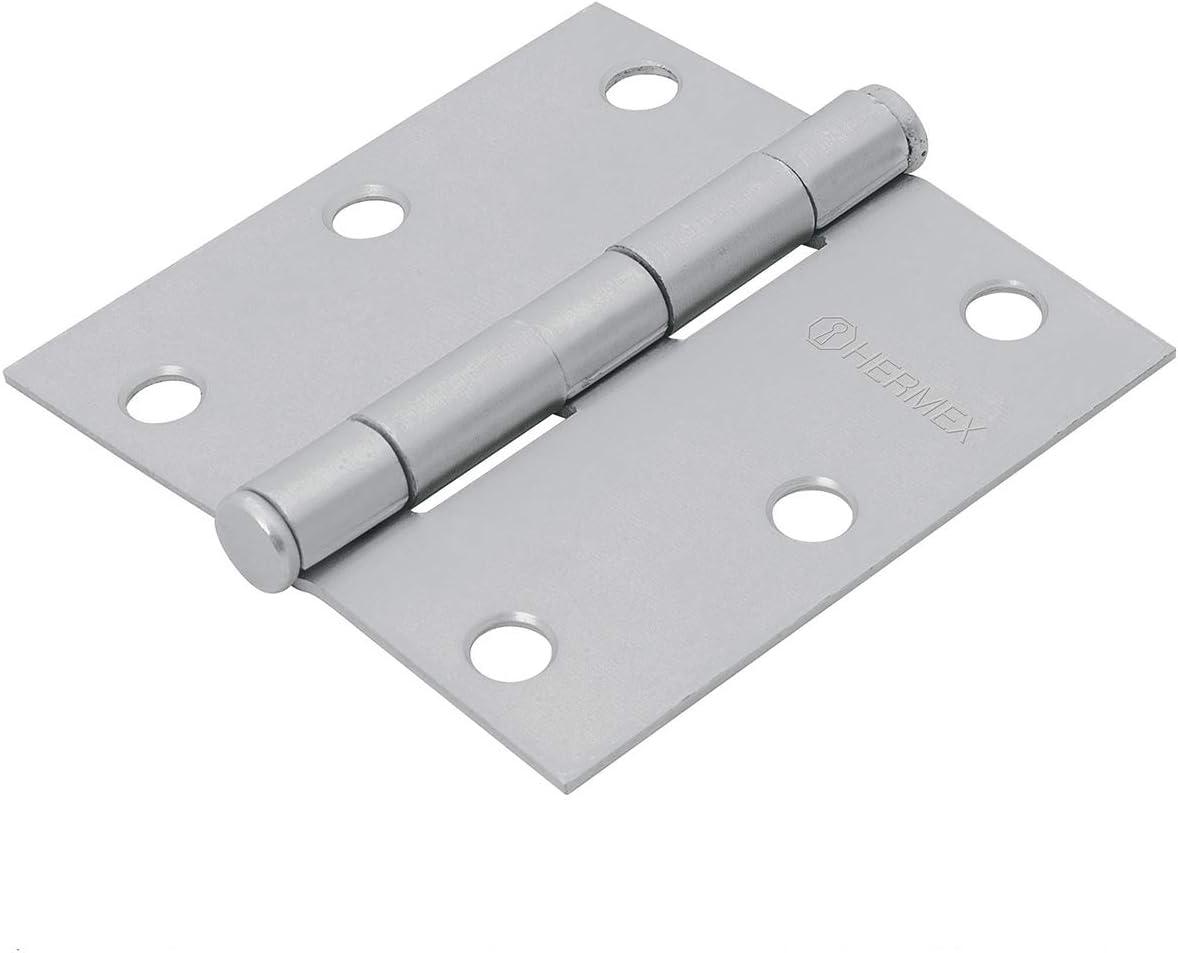 3.5 matte chrome flathead Hinge square Hermex Basic