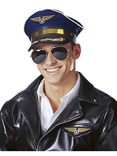 Forum Novelties Men's Novelty Adult Pilot Hat, Navy, One Size