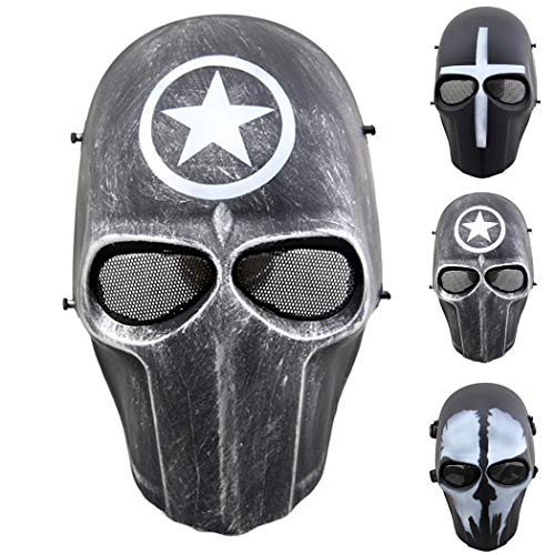 Outgeek Airsoft Mask Full Face Protective Mesh Mask