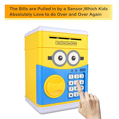 RICISUNG Trustworthy Cartoon Electronic Piggy Bank,ATM Password Piggy Bank Cash Coin Can Auto Scroll Paper Money for Children Gift Toy (Yellow) by RICISUNG (Image #7)