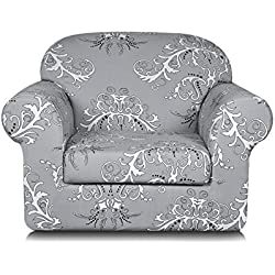 TIKAMI 2-Piece Spandex Printed Fit Stretch Sofa Slipcovers (Chair, Gray)