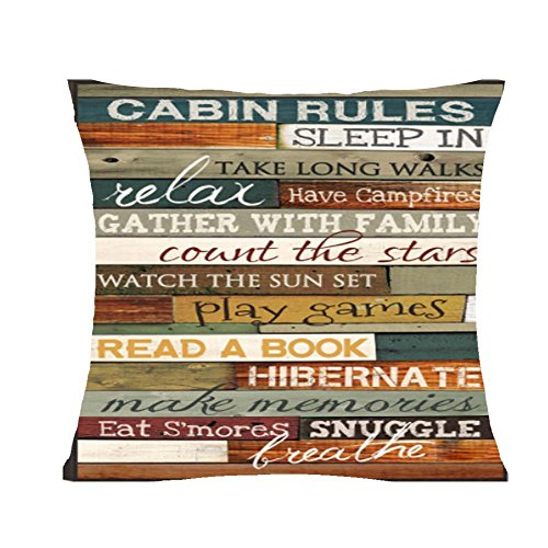 Retro cabin rules be relax enjoy the holiday Throw Pillow Cover Cushion Case Cotton Linen Material Decorative 18 x18 Square (6)