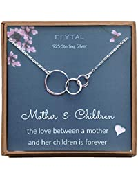 Mom 2 Children Necklace, Sterling Silver Three 3 Interlocking Infinity Circles, Mothers Day Jewelry Gift