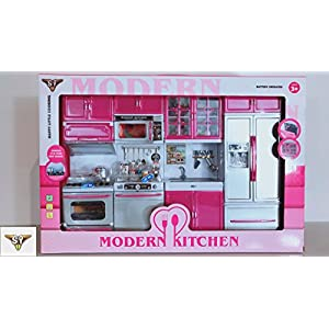 SY Doll Playsets My Modern Kitchen Full Deluxe Kit with Lights and Sounds(4 Set), Small