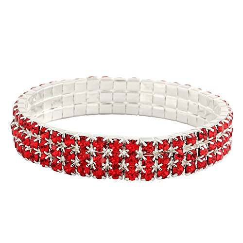 3 Red 10 Bracelet - Falari Rhinestone Crystal Stretch Bracelet Sparkle Wedding Bridal 3 Rows Red