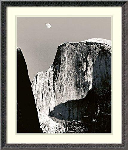 Framed Art Print 'Moon Over Half Dome' by Ansel Adams - Ansel Adams Half Dome