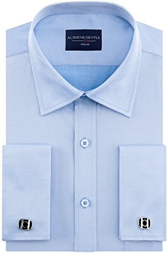 (Alimens & Gentle Big & Tall Solid Color Regular Fit French Cuff Dress Shirts (Cufflink Included) Big & Tall: 19 Neck-35/36)