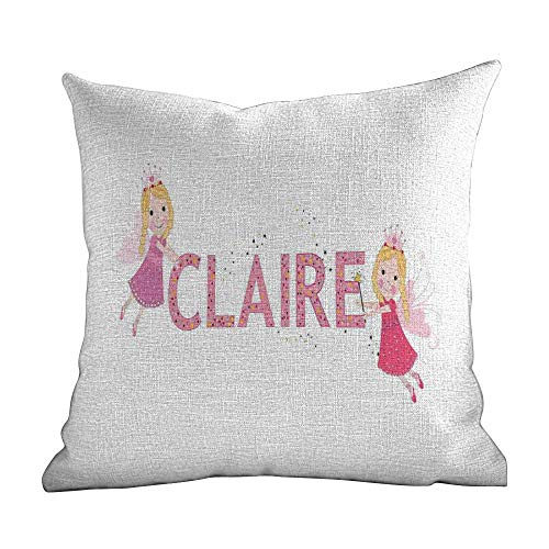 Personalized Pillowcase For Kids Claire,Pastel Toned Colorful Arrangement Of Fairy Tale Elements With Magic Wands And Wings,Multicolor,Decorative Home Zippered Custom Throw Pillow 20