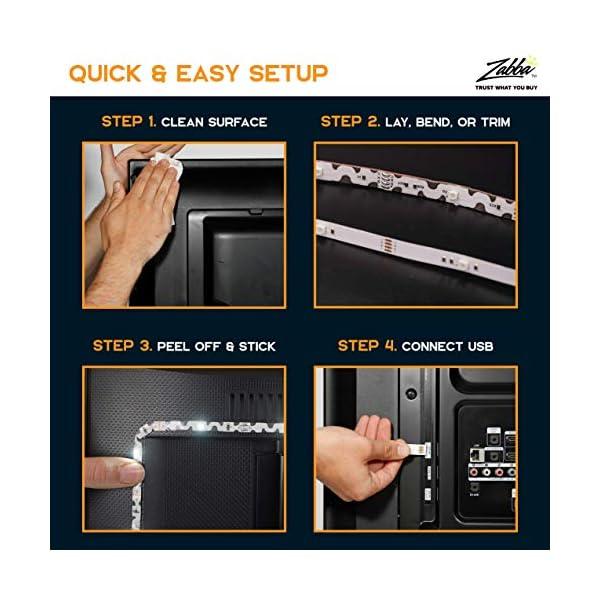 "Luminoodle Bias Lighting, Backlight Kit for Monitors up to 24"" - USB LED Light Strip - Computer Monitor Backlight - True White Adhesive Strip - White - Small (<24"" TV) 5"
