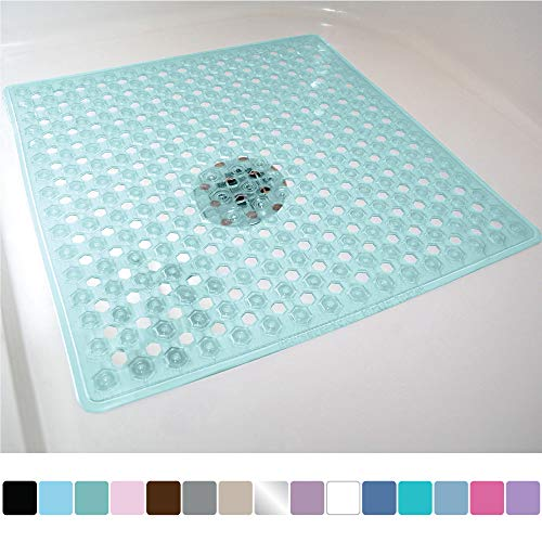 Gorilla Grip Original Patented Bath, Shower, and Tub Mat, 21x21, Machine Washable, Antibacterial, BPA, Latex, Phthalate Free, Square Bathroom Mats with Drain Holes, Suction Cups, Green