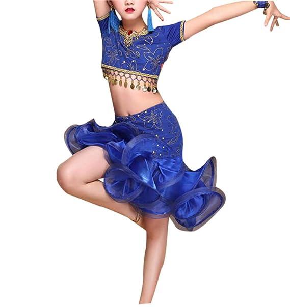 Amazon.com: Vestido de lentejuelas Latino Dance – Disfraz de ...