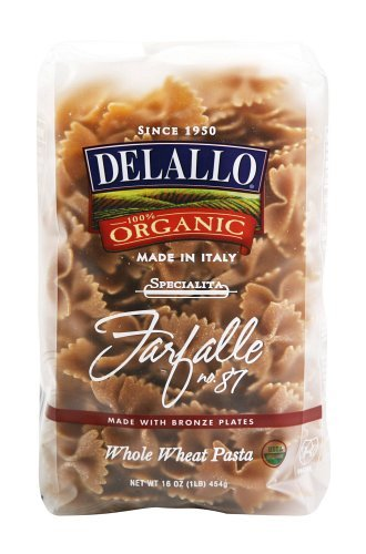 DeLallo Organic Whole Wheat Farfalle #87, 16-Ounce Units (Pack of 16) ()