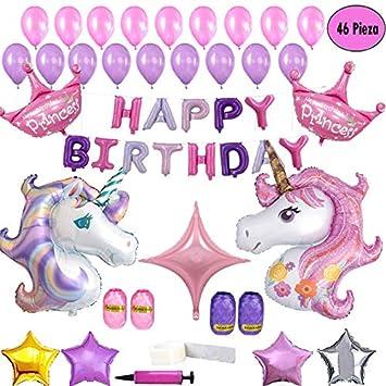 Clerfy Acc 46 Suministros de Cumpleaños Decoraciones de Fiesta Unicornio Globos