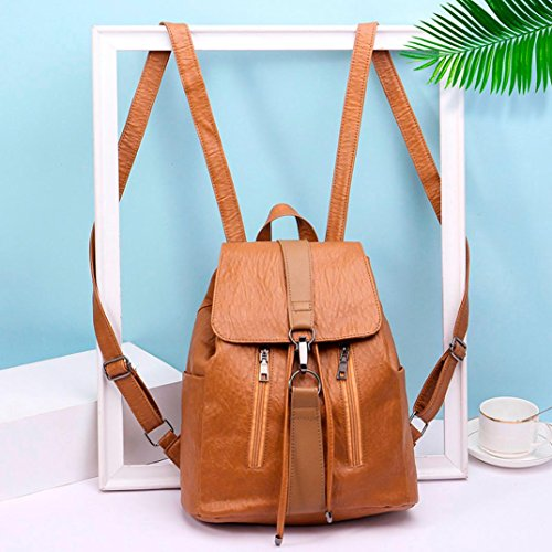 Backpack Vintage Satchel Girl Women Brown School Bag Travel Leather KIMODO Shoulder w45pZqxIH