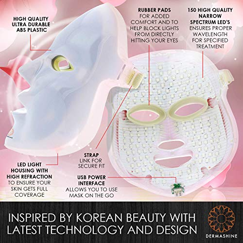 Dermashine Pro 7 Color LED Face Mask | Photon Red Light Therapy For Healthy Skin Rejuvenation | Collagen, Anti Aging, Wrinkles, Scarring | Korean Skin Care, Facial Skin Care Mask by Dermashine (Image #5)