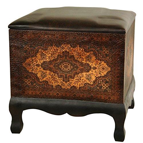 Italian Leather Ottoman (Oriental Furniture Olde-Worlde Baroque Ottoman/Stool)