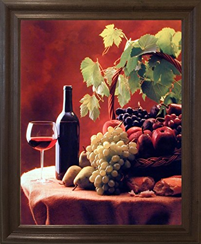 Impact Posters Gallery Framed Wall Decor Wine & Fruit (Grapes and Apples) Still Life Kitchen Brown Rust Framed Picture Art Print