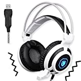 SADES SA905 USB PC Gaming Headset Headphone with Microphone Mild Vibration and Spot LED Light (Black and White)