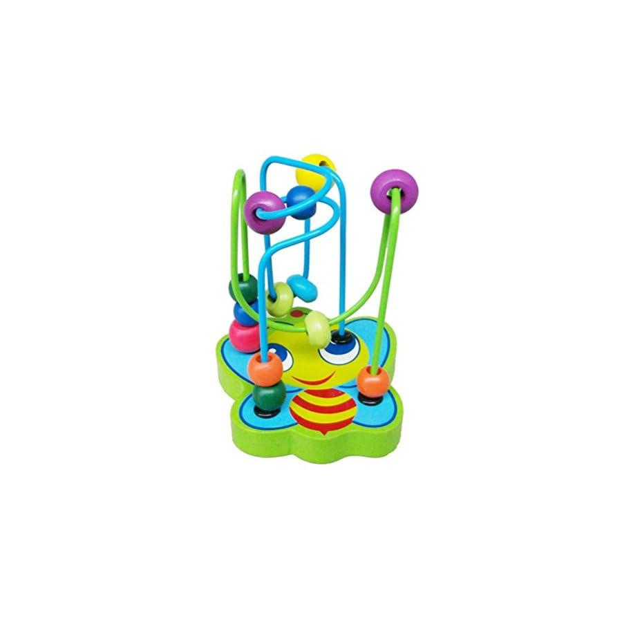Iusun Mini Wooden Around Beads Kids Children Early Toys Educational Toy Gift
