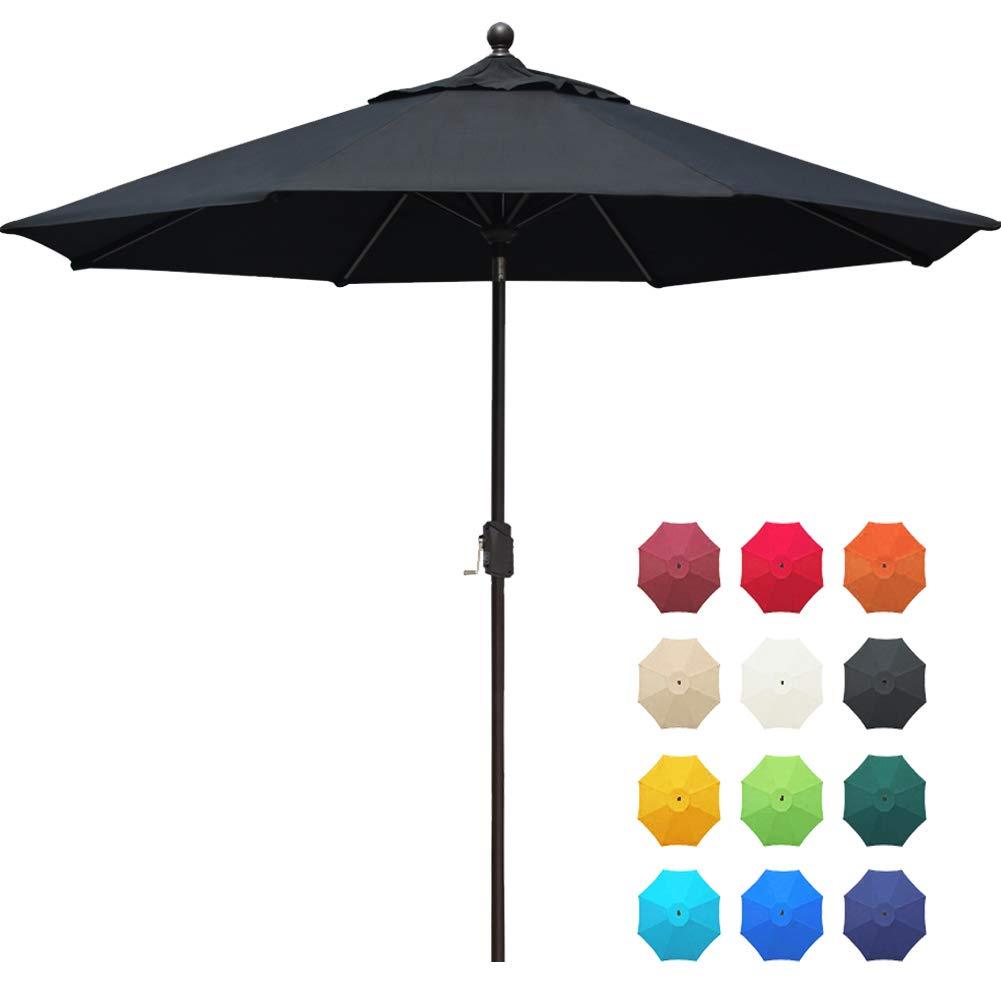EliteShade Acrylic 9Ft Market Umbrella Patio Outdoor Table Umbrella with Ventilation and 5 Years Non-Fading Guarantee,Black