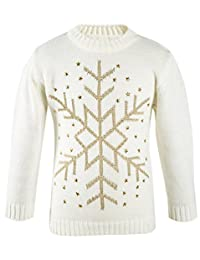 Lilax Little Girls' Snowflake Long Sleeve Star Knit Sweater