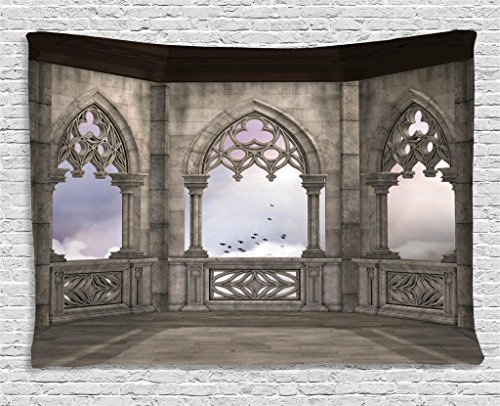Ambesonne Gothic Decor Collection, Medieval Stone Balcony with Curvings Graphic Design Mystic Middle Age Legend Story Print, Bedroom Living Room Dorm Wall Hanging Tapestry, 60W X 40L Inch, Grey Purple