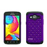 8gtech Purple HYBRID DIAMOND STUDDED RHINESTONE BLING CASE FOR Samsung Galaxy Core LTE G386F +Screen Protector