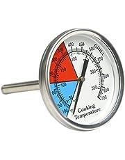Onlyfire RVS 76 MM Dia Barbecuethermometer Temperatuurmeter voor BBQ/Oven/Rookoven (weergave: Celsius en Fahrenheit)