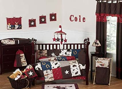 Sweet Jojo Designs 9-Piece Wild West Western Horse Cowboy Baby Boy Bedding Crib Set