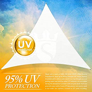 Royal Shade Custom Size Order to Make Sun Shade Sail Canopy Mesh Fabric UV Block Triangle – Commercial Standard Heavy Duty – 200 GSM – 5 Years Warranty Right Triangle 24 x 24 x 33.9 , White