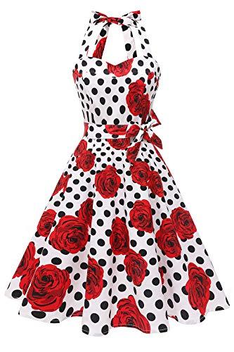 Topdress Women'sVintage Polka Audrey Dress 1950s Halter Retro Cocktail Dress White Dot/Rose XL -