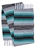 El Paso Designs Genuine Mexican Falsa Blanket - Yoga Studio Blanket, Colorful, Soft Woven Serape Imported from Mexico (Teal, Gray and Mint)