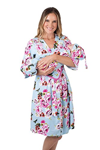 Matching Delivery Robe and Swaddle Blanket Set Mom and Baby (L/XL 12-18, Isla) -
