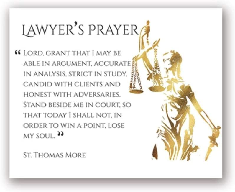 woplmh Lawyer Prayer Print Law Wall Art Picture Canvas Painting Attorney Poster Lawyer Office Wall Decor Graduation Law Student Gifts-50x70cm no Frame
