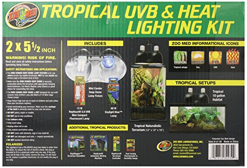 51ElZY4q5EL - Zoo Med Tropical UVB and Heat Lighting Kit