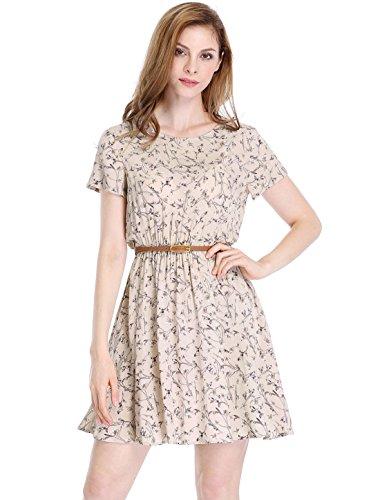 Allegra K Women's Floral Prints Above Knee A Line Dress w Belt XS Pink