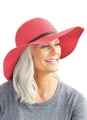 (SunLily Women's Roll-n-Go Sun Hat, Coral, One Size)