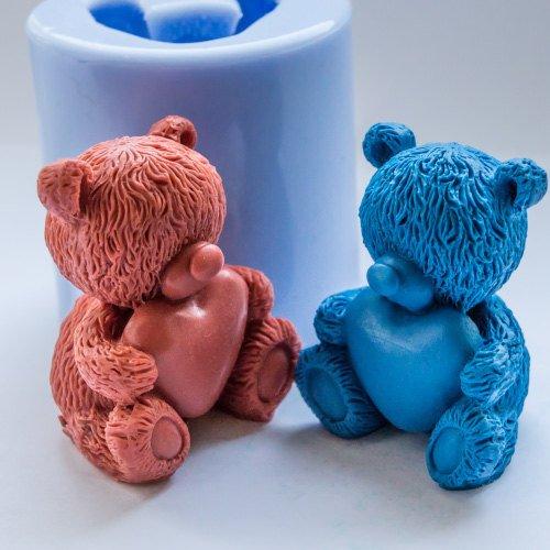 Inception Pro Infinite Stampo in silicone per uso artigianale di un orso 3d con un cuore in braccio - adatto anche per le candele Exsyn Di Tozzi Stefano