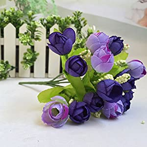 NszzJixo9 15 Heads Unusual Artificial Rose Silk Fake Flower Leaf Home Decor Bridal Bouquet Fake Rose Leaf P One Bouquet 93