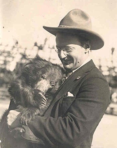 1910 ? Man & Pet Bear Los Angeles Original Photo Huges from Man
