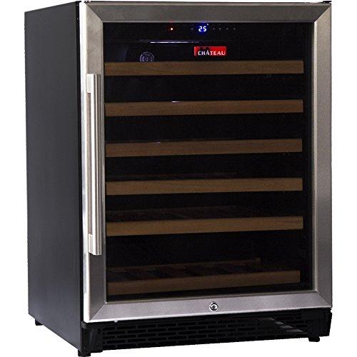 Chateau CW542 220V SE 46 Bottle LED Display Glass Wine Cooler Refrigerator, (160 Bottle Wine Cooler)