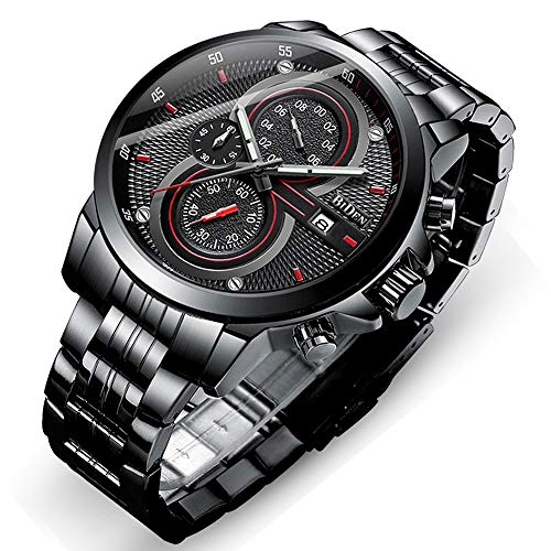Mens Watch,Stone Quartz Watch Fashion Stainless Steel Large Face Wrist Watch (Nice Big Face Watches)
