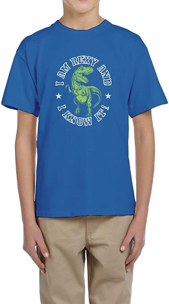 I Am Rexy and I Know It Youth Crew Short Sleeve Shirts For Boy Fzjy Wnx Dinosaur Lover