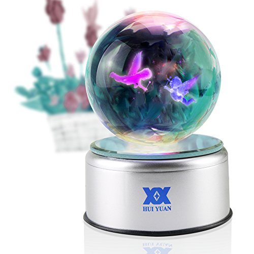 Angel Figurines Thank You Gifts Christmas Gift Children Birthday 3D Crystal Ball Lamp for Her LED Night Light Party Decoration Engraved Guardian 80mm Globe Silver Rotate 7 Colors USB Cherub - Healing Lamp